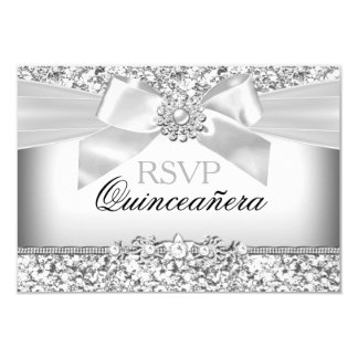 Silver Glitter & Jewel Bow Quinceanera RSVP Card