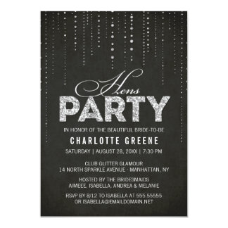 Silver Glitter Look Black Hens Party Invitation