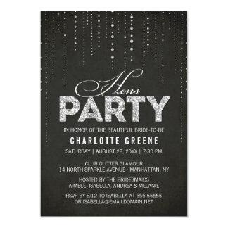 Silver Glitter Look Black Hens Party Invitation