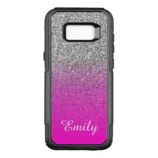 Silver Glitter Neon Pink Ombre Personalised OtterBox Commuter Samsung Galaxy S8+ Case
