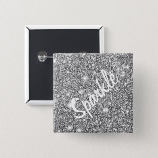 Silver Glitter Sparkles 15 Cm Square Badge
