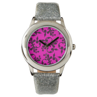 Silver glitter watch with bright pink damask face