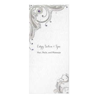 Silver glitter with purple jewels design spa salon personalized rack card