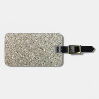 Silver Glittery Paper Luggage Tag