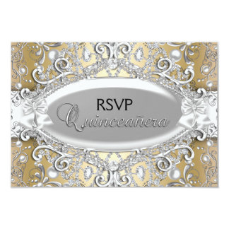 Silver & Gold Damask Pearl Quinceanera RSVP 9 Cm X 13 Cm Invitation Card
