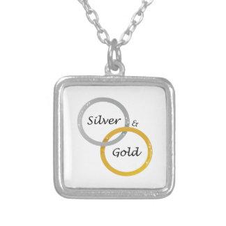 Silver & Gold Square Pendant Necklace