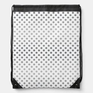 Silver Gradient Polka Dots Drawstring Bag
