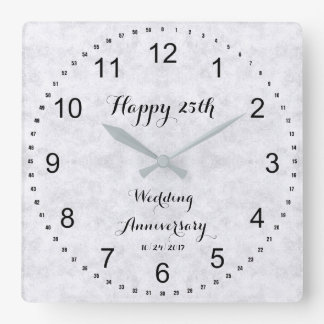 Silver Gray 25th Silver Wedding Anniversary Square Wall Clock