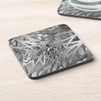 Silver & Gray Abstract Branches Coaster