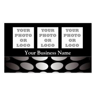 Silver gray abstract pattern on black pack of standard business cards