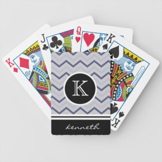 Silver Gray Chevron Black Monogram Name Custom Bicycle Playing Cards