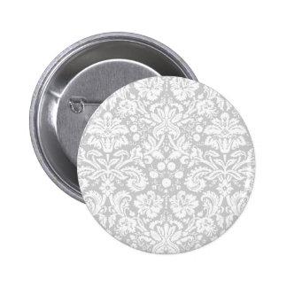 Silver gray damask pattern pinback button
