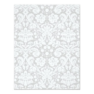 Silver gray damask pattern announcement