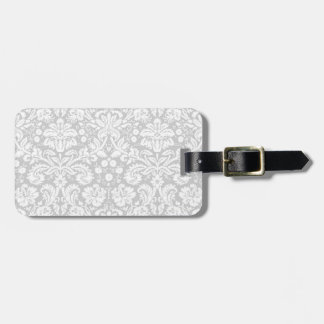 Silver gray damask pattern tags for bags