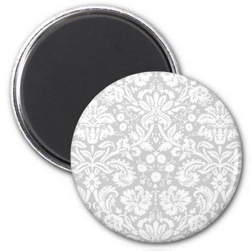 Silver gray damask pattern refrigerator magnets