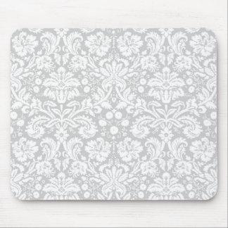 Silver gray damask pattern mousepad