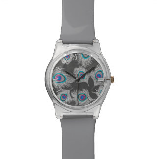 Silver Gray / Grey Peacock Feathers on Graphite Watch