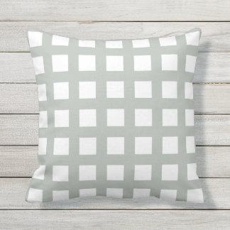 Silver Gray Grid Check Outdoor Pillows