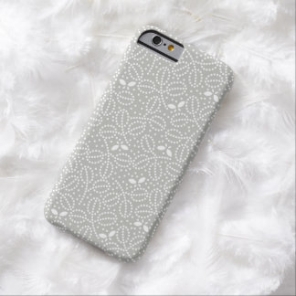 Silver Gray Leaf Pattern iPhone 6 case