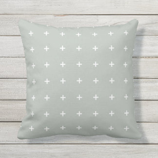Silver Gray Outdoor Pillows - Cross Pattern