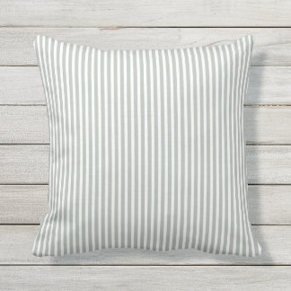 Silver Gray Outdoor Pillows - Oxford Stripe
