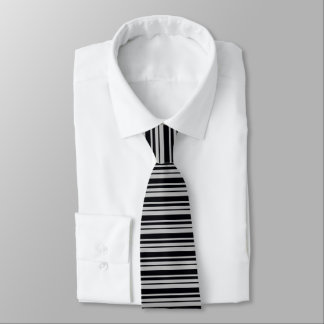 Silver Grey and Black Stripes Tie