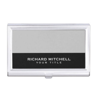 Silver grey black modern masculine personalised case for business cards