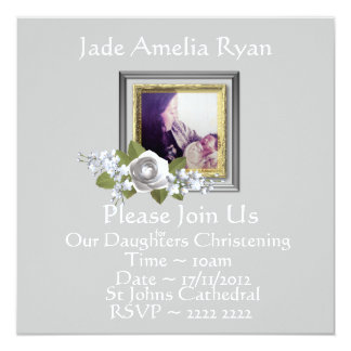 Silver Grey Custom Photo Christening Invitations