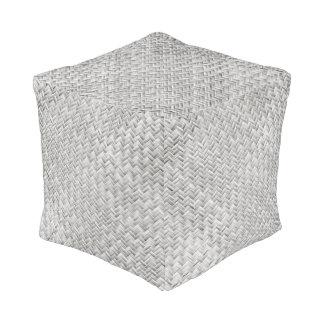 Silver Grey Diagonal Basket Weave Geometric Pouf