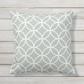 Silver Grey Outdoor Pillows - Circle Trellis