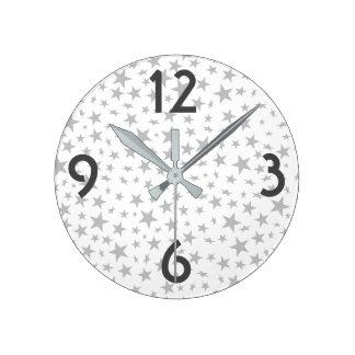 Silver Grey Stars Print Pattern Round Clock