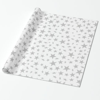 Silver Grey Stars Print Pattern Wrapping Paper