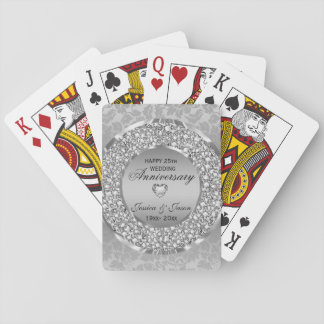 Silver Heart And White Diamonds- Anniversary Playing Cards
