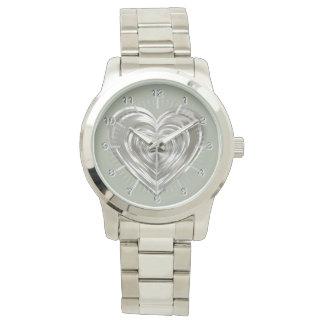 Silver heart watch