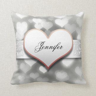 silver hearts elegant throw cushion