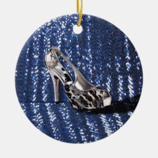 Silver High Heel add Text Animal Print sequins Christmas Ornament