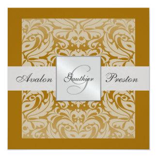 Silver & Honey Monogram Damask Border Invitation