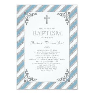 Silver Impression Blue Religious Invitation