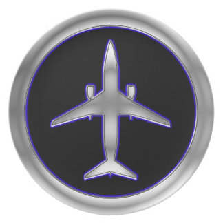 Silver Jet Aircraft Plate