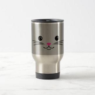 Silver Kitty Cat Cute Animal Face Design Travel Mug