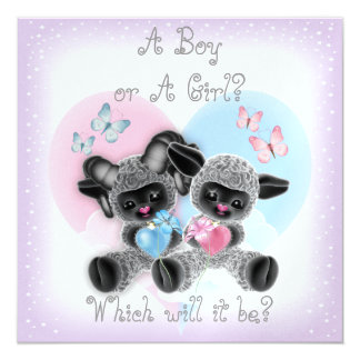 Silver Lamb Baby Gender Reveal Party Invit Card