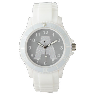 Silver Letter A Watch