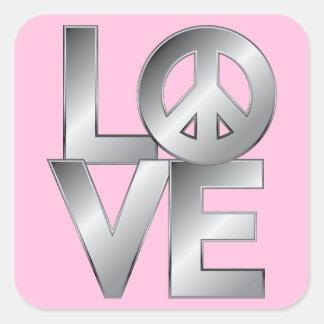 Silver LOVE=Peace Square Sticker