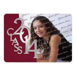 "Silver Maroon 2014 Photo Graduation Invitation 5"" X 7"" Invitation Card"