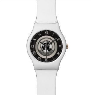 Silver Medal Soccer Monogram Letter A Watch