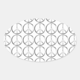 Silver Metal Peace Symbol Oval Sticker