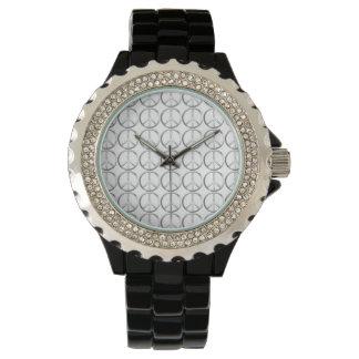 Silver Metal Peace Symbol Watch