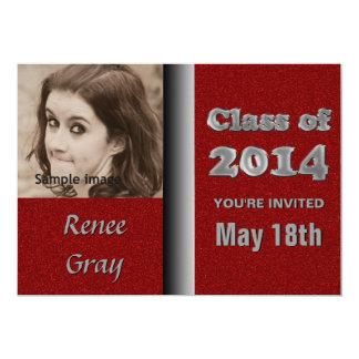 Silver Metal Red Class of 2014 Graduation Photo 13 Cm X 18 Cm Invitation Card