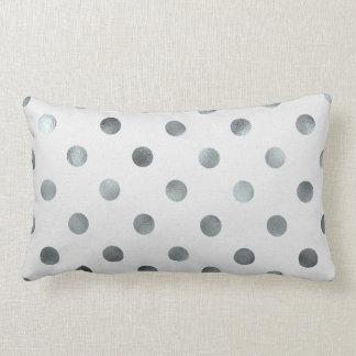 Silver Metallic Faux Foil Large Polka Dot Grey Lumbar Cushion