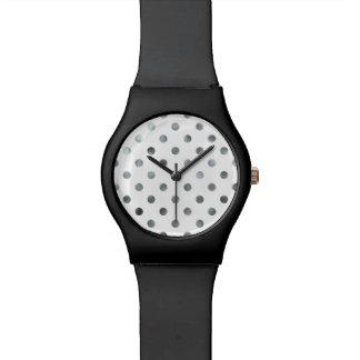 Silver Metallic Faux Foil Polka Dot White Watch